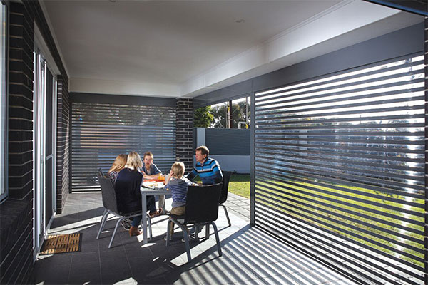 Ezy view Roller shutters Adelaide for enclosing a pergola