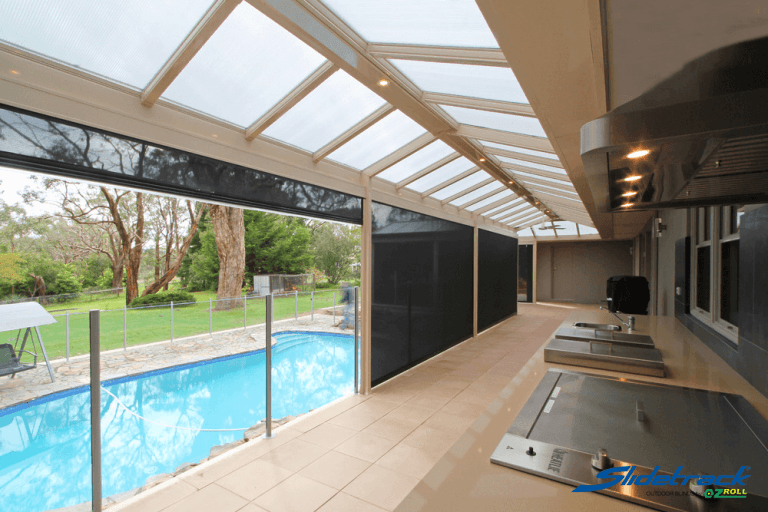 Outdoor Slidetrack blinds create a breathable indoor outdoor space