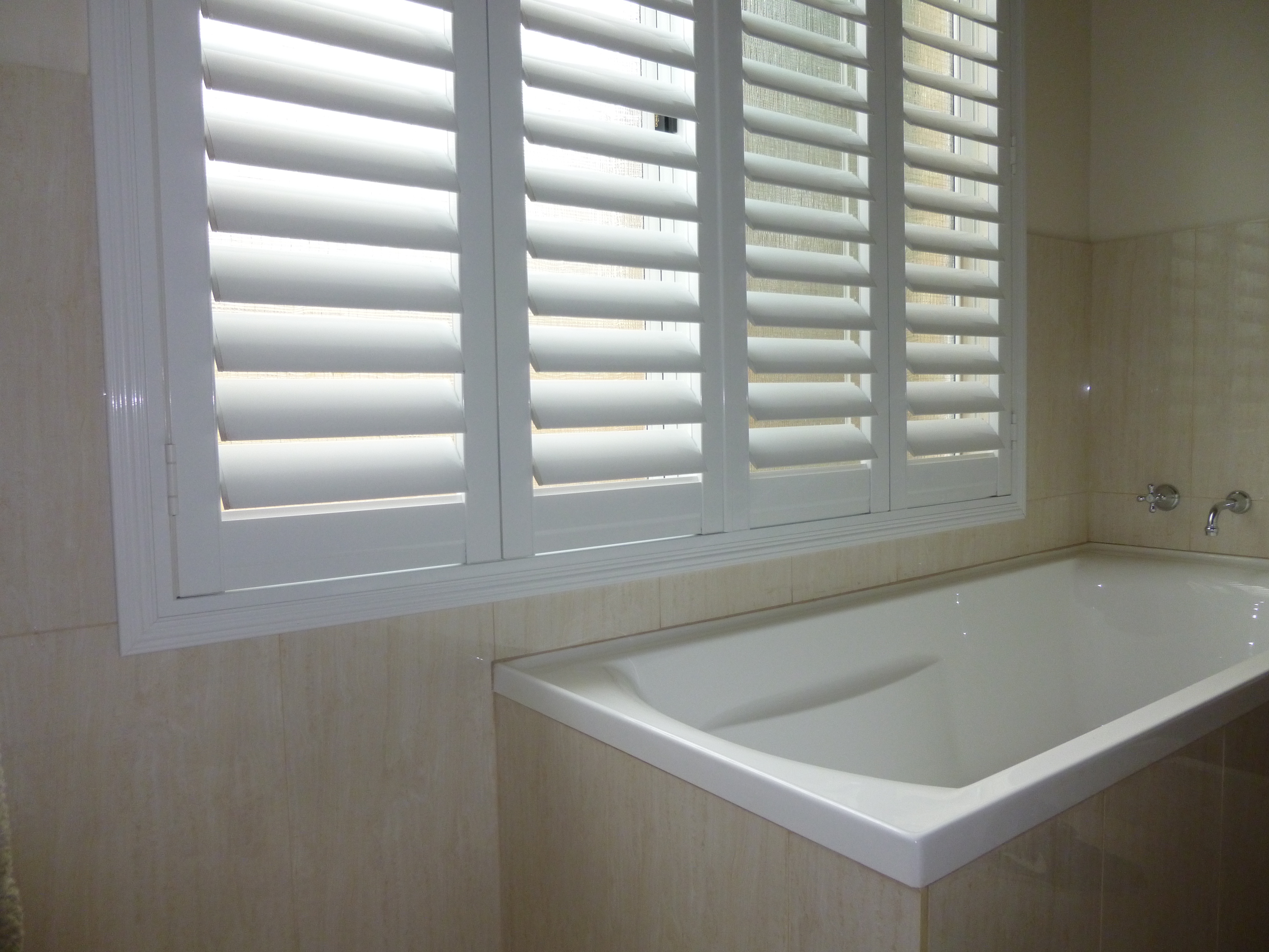 PVC plantation shutters or Aluminium Plantation shutters are perfect for bathrooms
