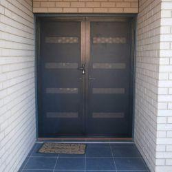 Double door security screen door